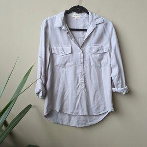 Cloth + Stone Slate Gray Button Down Shirt size M